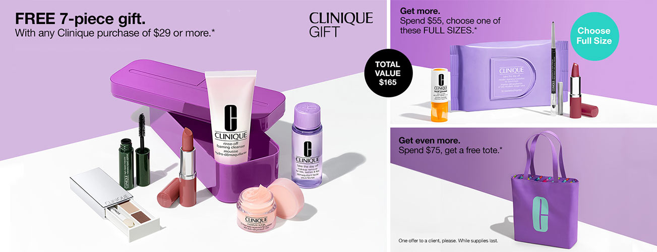 Clinique GWP - Free gift with any Clinique purchase of $29 or more