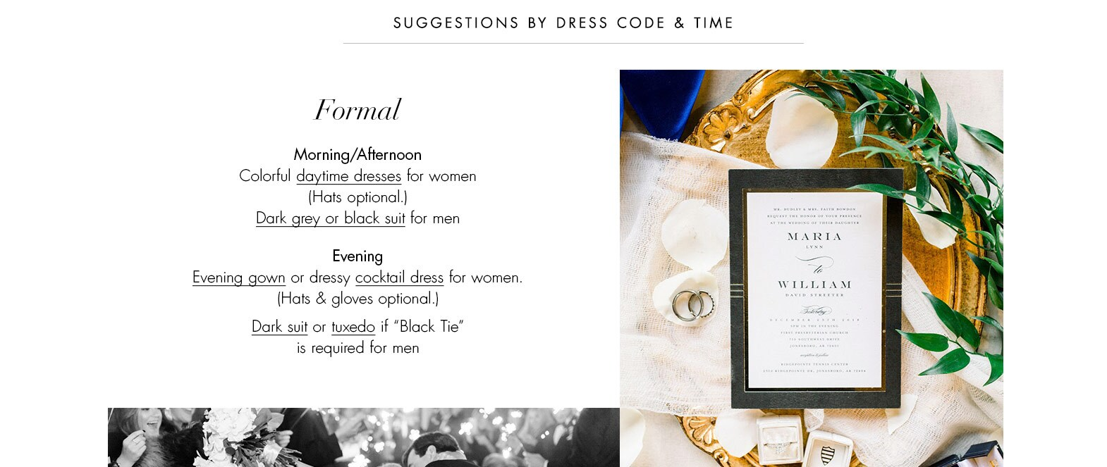 Formal - wedding attire guide