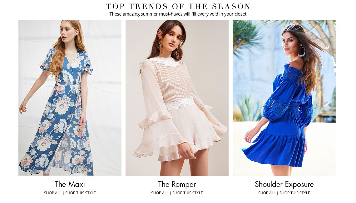 Shop this summer's top trends in women's clothing