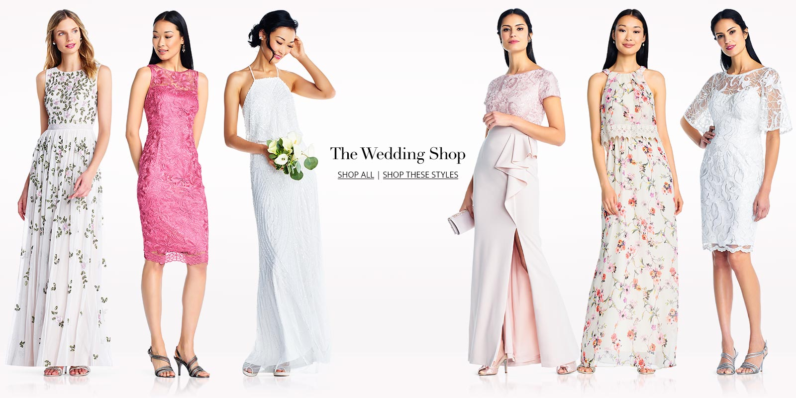 Six women wearing Adrianna papell bridal dresses