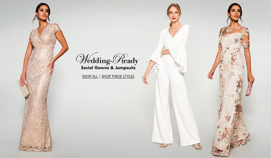 Shop wedding-ready social gowns and jumpsuits