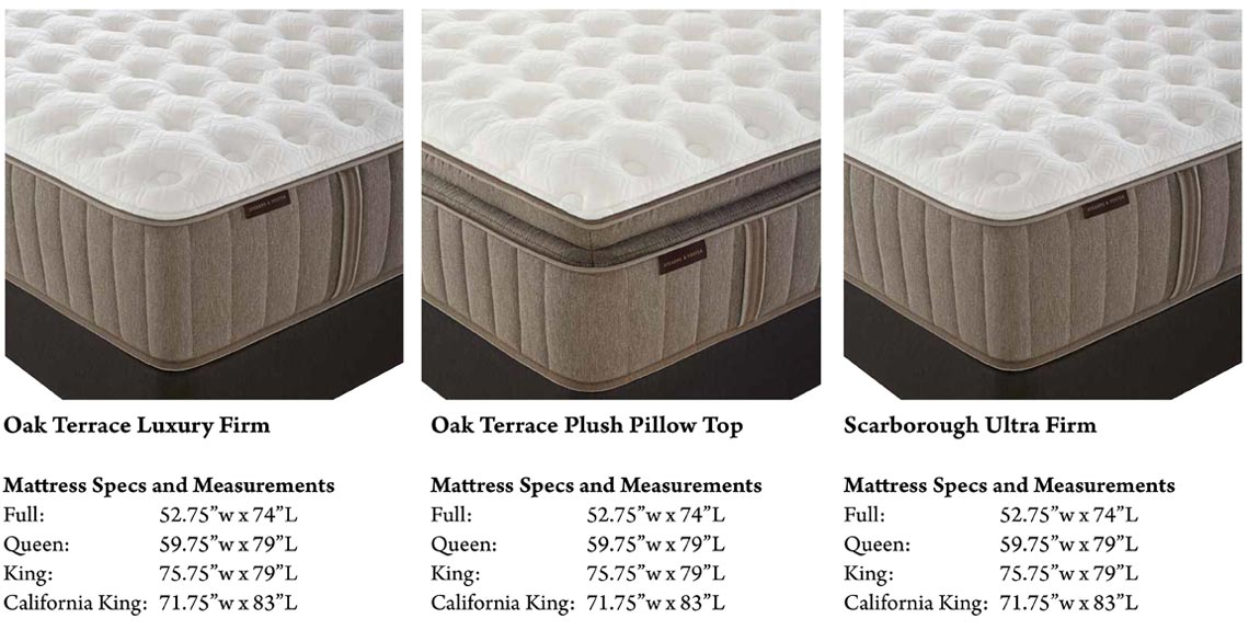 Stearns & Foster Mattress Information | Oak Terrace Luxury Firm, Oak Terrace Plus Pillow Top, and Scarboro Ultra Firm