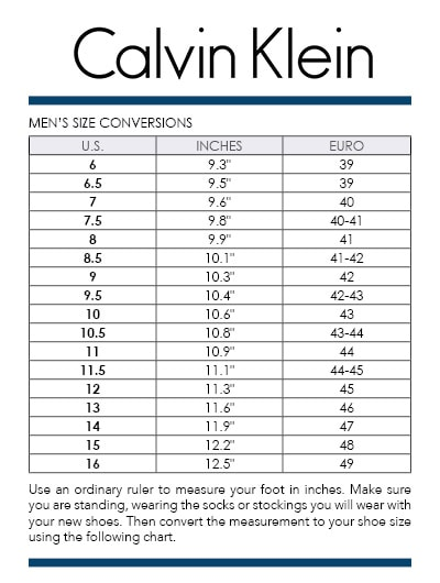 Calvin Klein Jeans Shoes Size Chart - Photos Chart In The Word 276edd87d4