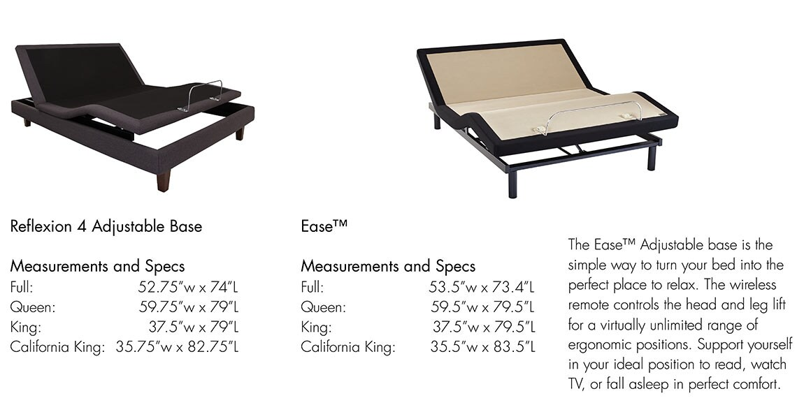 Sealy Matress Information | Adjustable Base Reflexion 4 and Ease