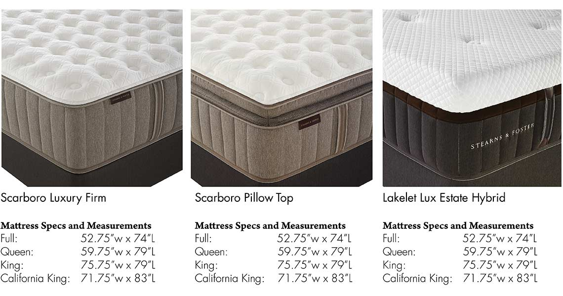 stearns u0026 foster mattress information scarboro luxury firm scarboro pillow top and lakelet