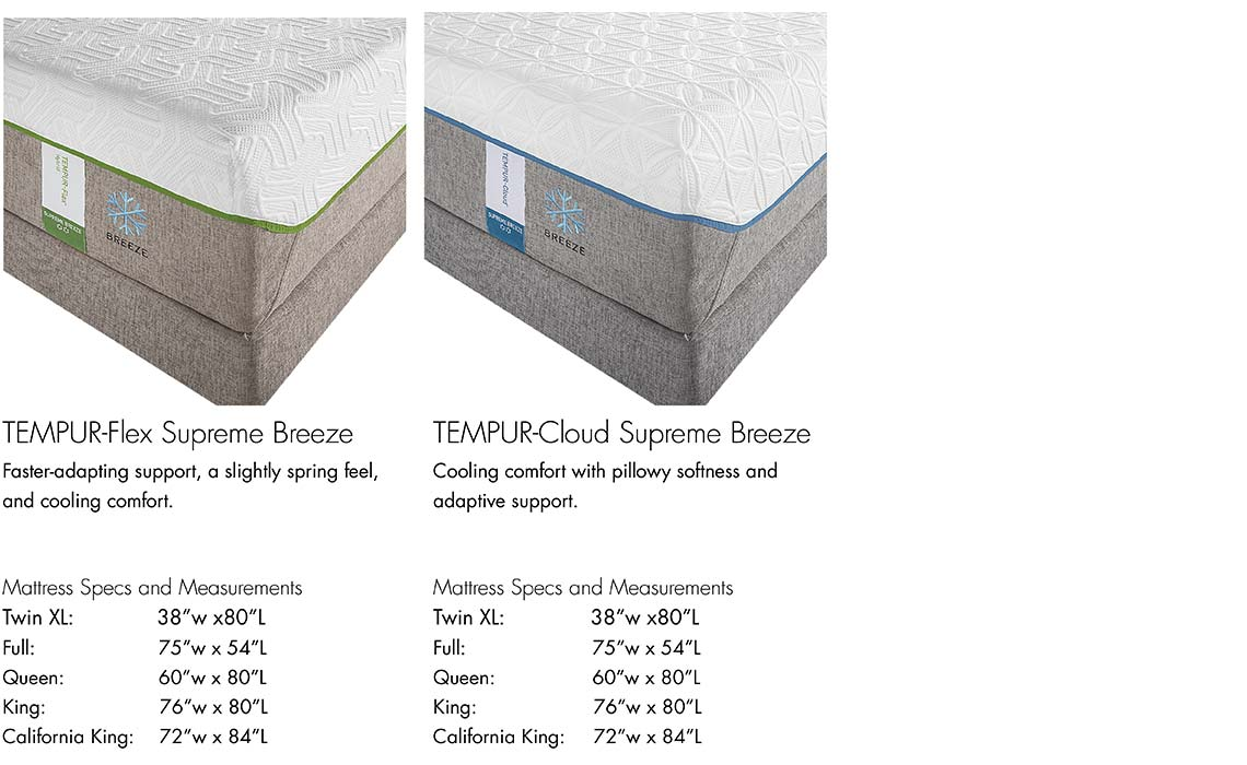tempurpedic mattress information tempurflex supreme breeze and tempur cloud supreme - Tempurpedic Cloud