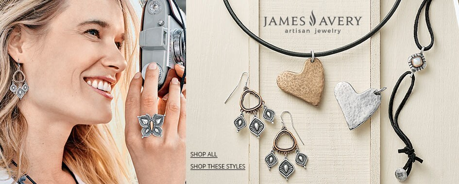 James Avery jewelry on wooden background and model wearing James Avery jewelry