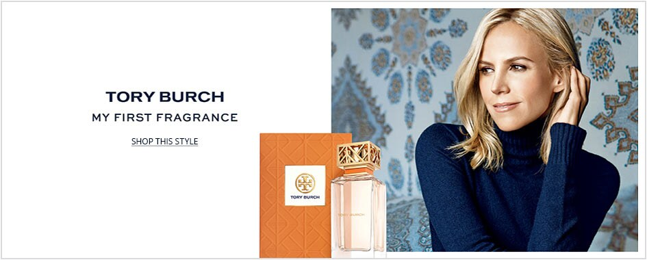 Creative shot of Tory Burch with her fragrance bottle