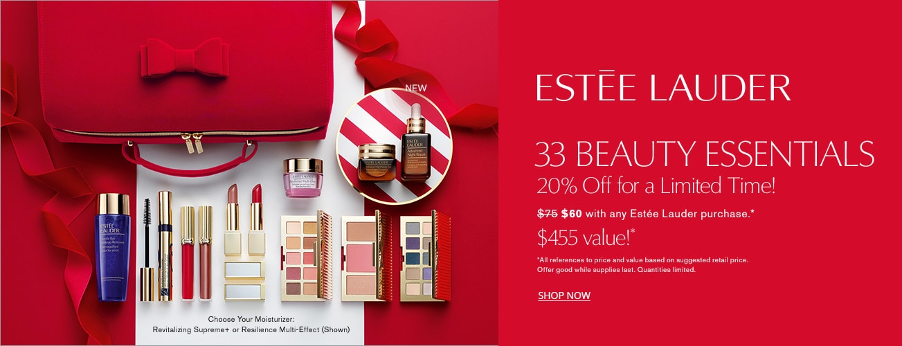 Shop Estee Lauder - 33 beauty essentials $75* with any $45 Estee Lauder purchase - a $455 value