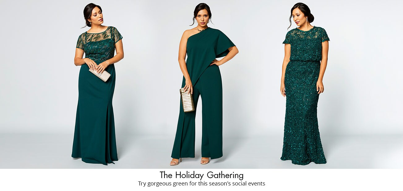 Plus model on grey background in three different green outfits
