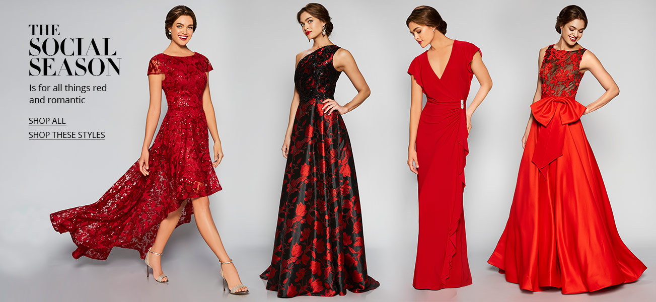 a model in four different red social dresses - Red Dress For Christmas