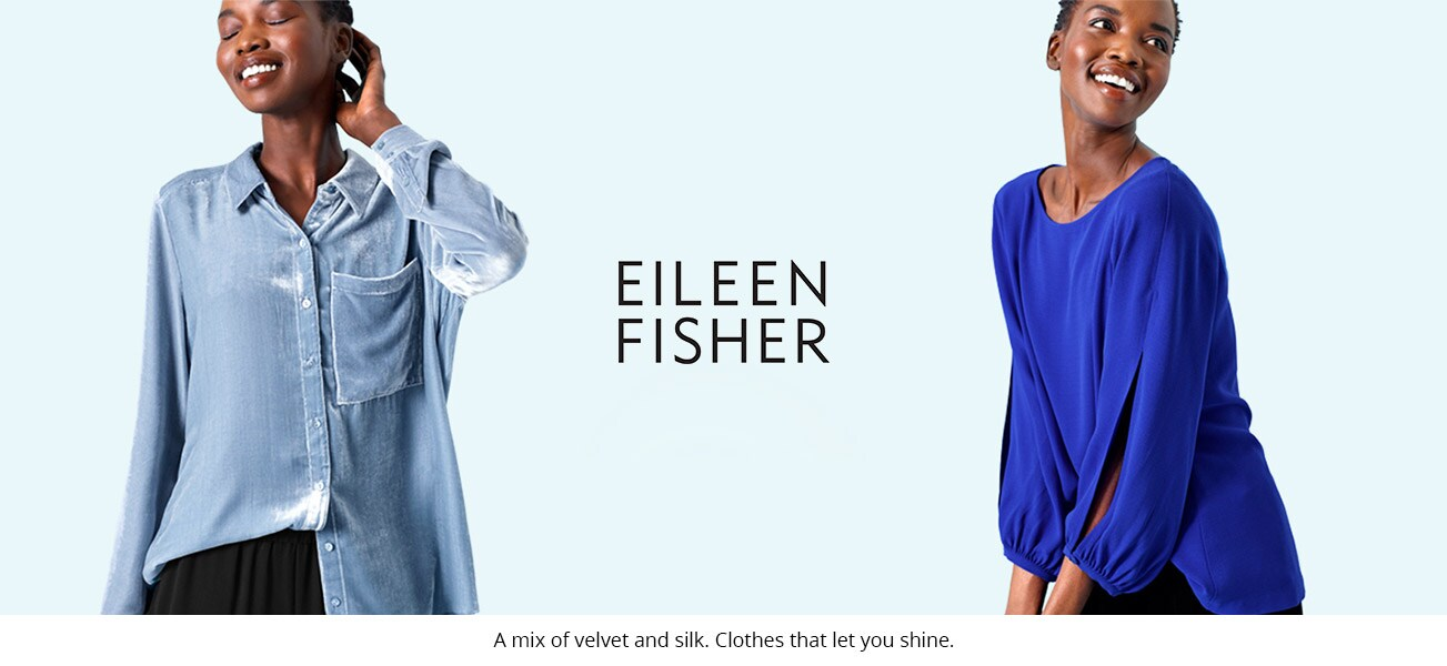 Model wearing Eileen Fisher brand blue clothing