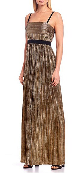 Gianni Bini Kelly Pleated Square Neck Sleeveless Metallic A-Line Gown