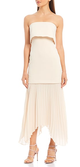 C/MEO Take Seriously Strapless Crepe Pleated Asymmetric Hem Midi Dress