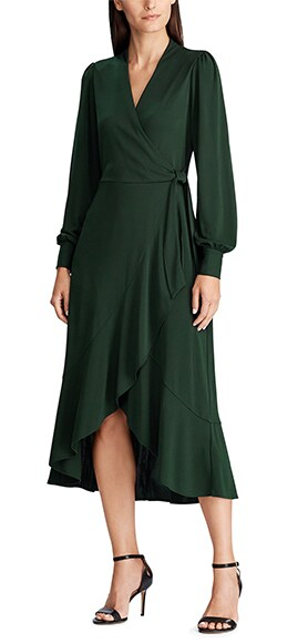 Lauren Ralph Lauren Matte Jersey Ruffle Long Sleeve Faux Wrap Midi Dress