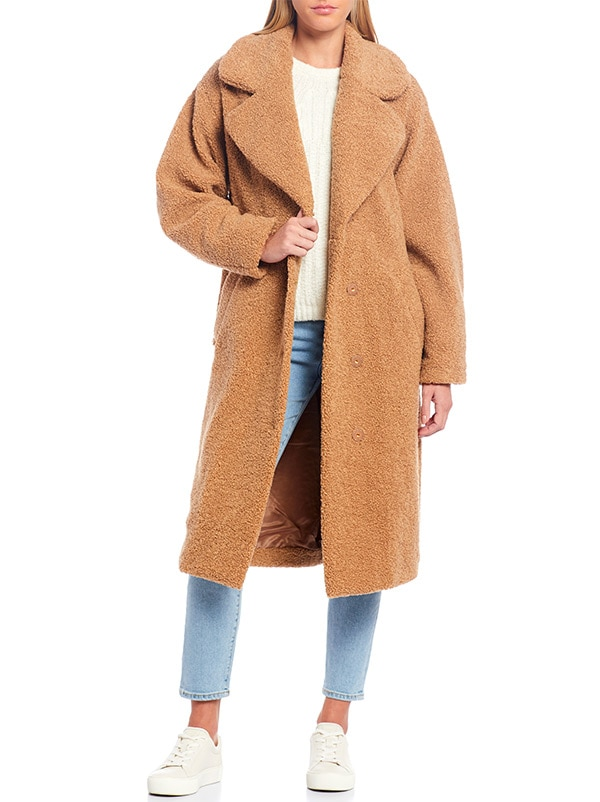 UGG Faux Fur Charlisse Wide Lapel Teddy Bear Coat
