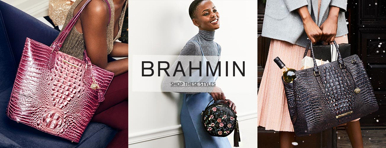Creative shot of models holding Brahmin handbags