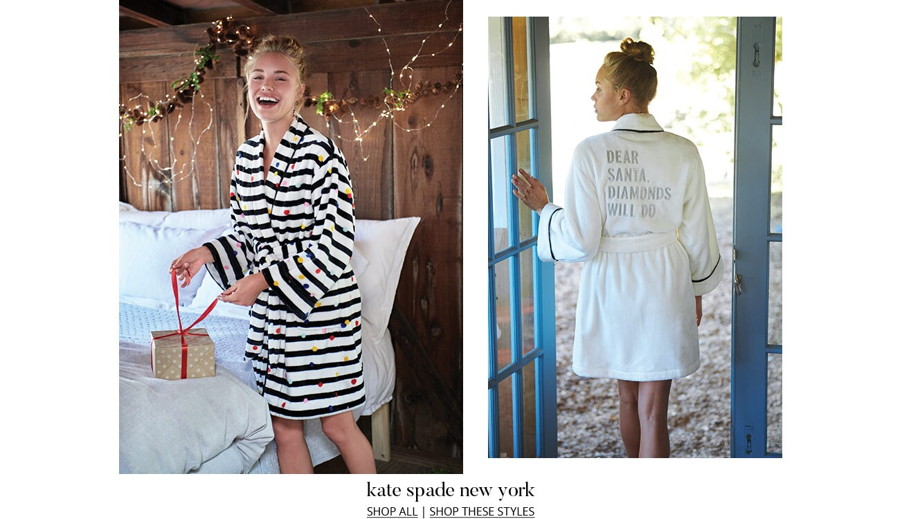Two photos of model wearing kate spade new york robes