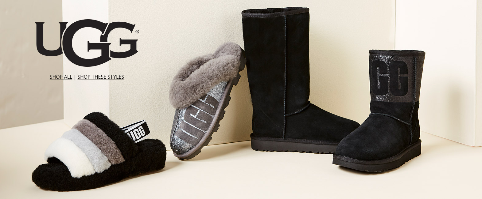 Assortment of UGG shoes against a light colored wall