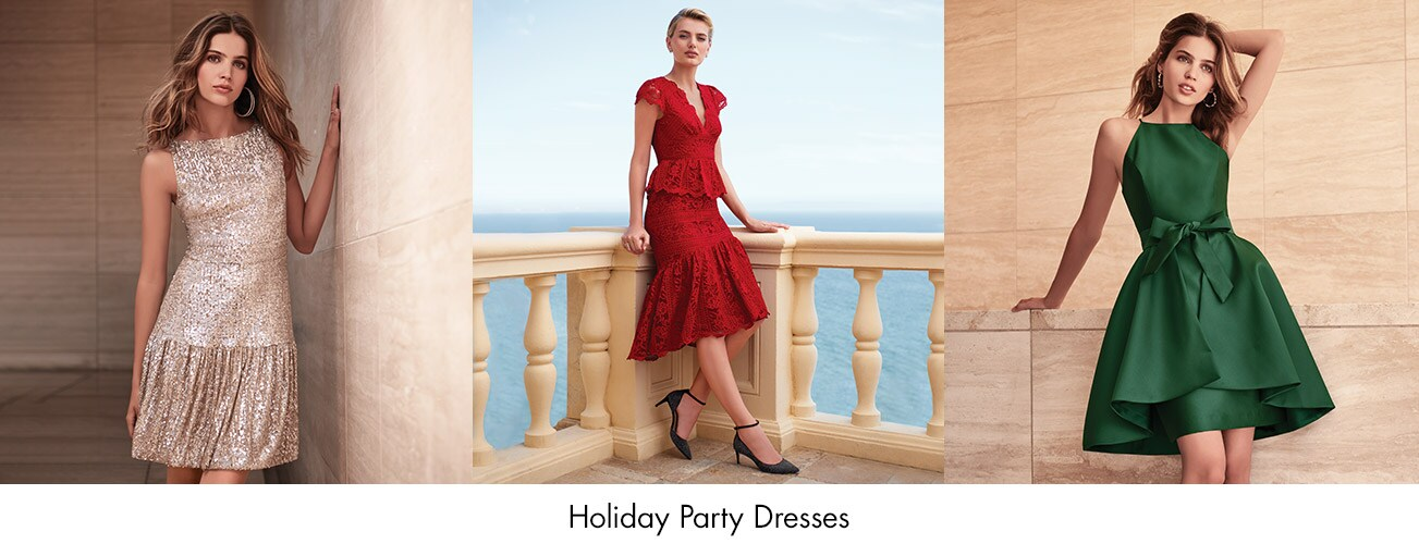 Models Wearing Three Different Holiday Dresses