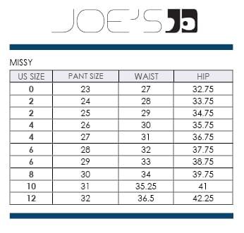Joe jeans size chart size charts ayucar com
